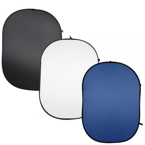 Walimex 3er Pack Falthintergrund schwarz/weiß/blau