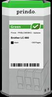 Prindo Tintenpatrone Schwarz PRIBLC980BKG Green ~300 Seiten Prindo GREEN: Recycelt & aufwendig aufbe
