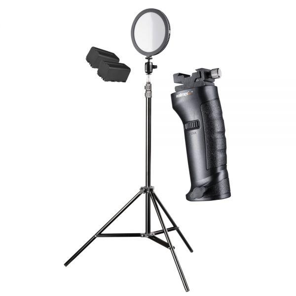 Walimex pro Soft LED 200 Round Daylight Set XL Akku + Blitzhalter + Stativ 208cm