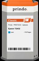 Prindo Tintenpatrone cyan PRIET2432 T2432 ~740 Seiten Prindo CLASSIC: DIE Alternative, Top Qualität,