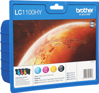 Brother Multipack Schwarz / Cyan / Magenta / Gelb LC1100HYVALBPDR LC-1100HY 4 Tintenpatronen: LC1100