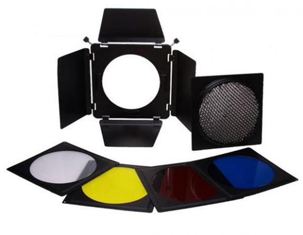 Falcon Eyes Abschirmklappen, Wabenvorsatz Set und Filter SFA-BHC