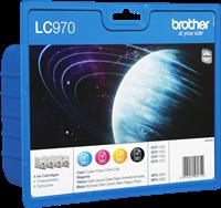 Brother Multipack Schwarz / Cyan / Magenta / Gelb LC970VALBPDR LC-970 4 Tintenpatronen: LC970BK + LC