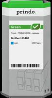 Prindo Tintenpatrone Cyan PRIBLC980CG Green ~260 Seiten Prindo GREEN: Recycelt & aufwendig aufbereit