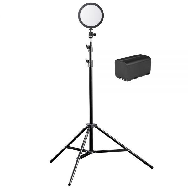 Walimex pro Soft LED 200 Round Bi Color Akku + 260 cm Stativ Set