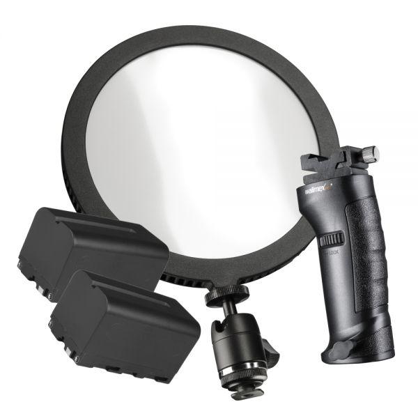 Walimex pro Soft LED 200 Round Daylight Set L Akku + Blitzhalter