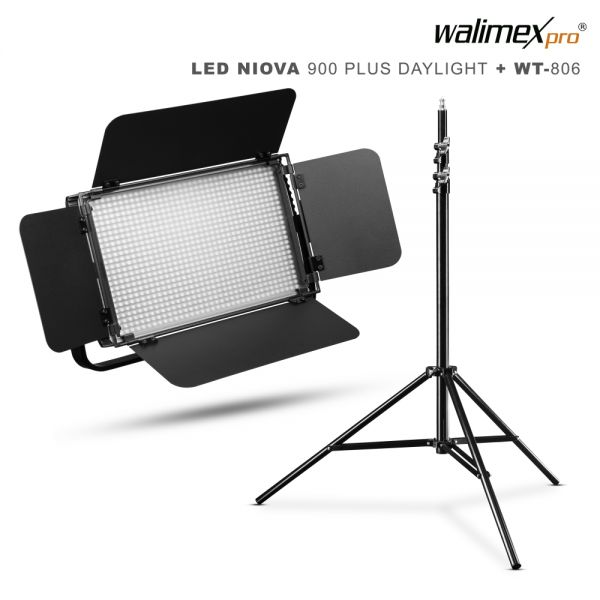 Walimex pro LED Niova 900 Plus Daylight 54W Set mit WT-806 Stativ