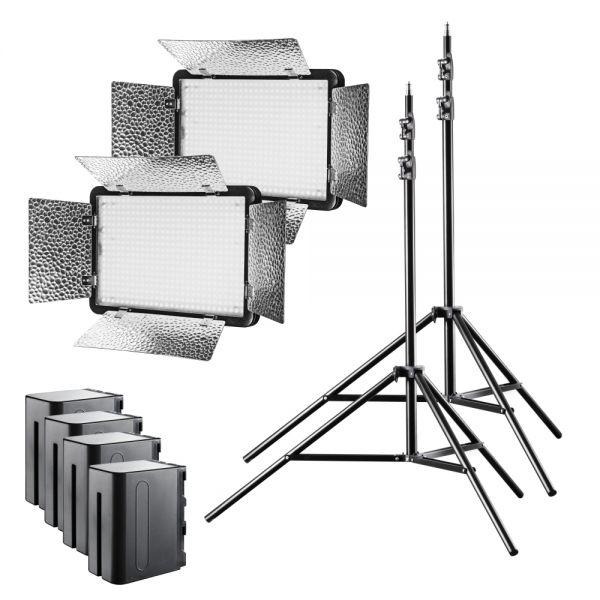 Walimex pro LED Versalight 500 Daylight 2er Set 2x Leuchte 2x Stativ 4x Akku