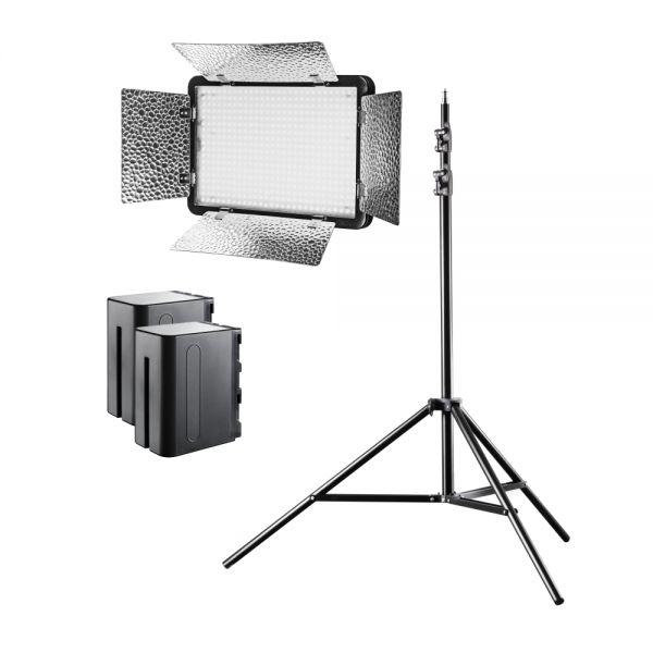 Walimex pro LED Versalight 500 Bi Color Set inkl. 1x Stativ und 2x Akku