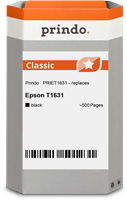 Prindo Tintenpatrone schwarz PRIET1631 T1631 ~500 Seiten Prindo CLASSIC: DIE Alternative, Top Qualit